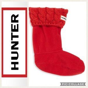 ❤️NEW!! Hunter Kids 6 Stitch Boot Socks {Red} L
